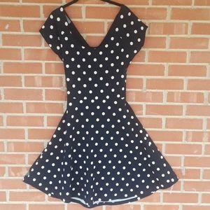 NWT Navy blue & polka dot GILLI skater dress, sz L
